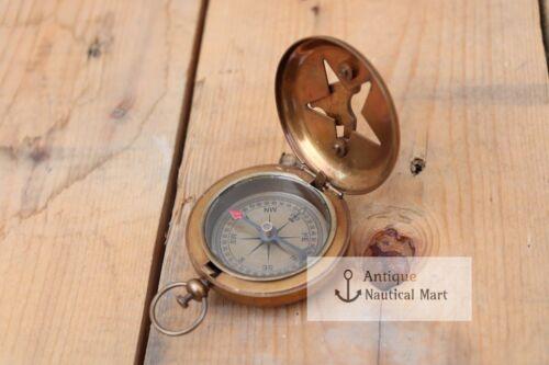 Handmade Nautical Brass Sundial Compass Marine Vintage Compass Pocket Gift