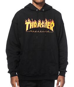 Thrasher-Hood-Flame-Logo-Black-Skateboard-Jumper-Pullover-Hoodie-hoody