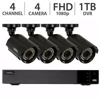Q-See 4-Channel 4-Camera 1080p Surveillance Security Systems 1TB HDD DVR - NEW!