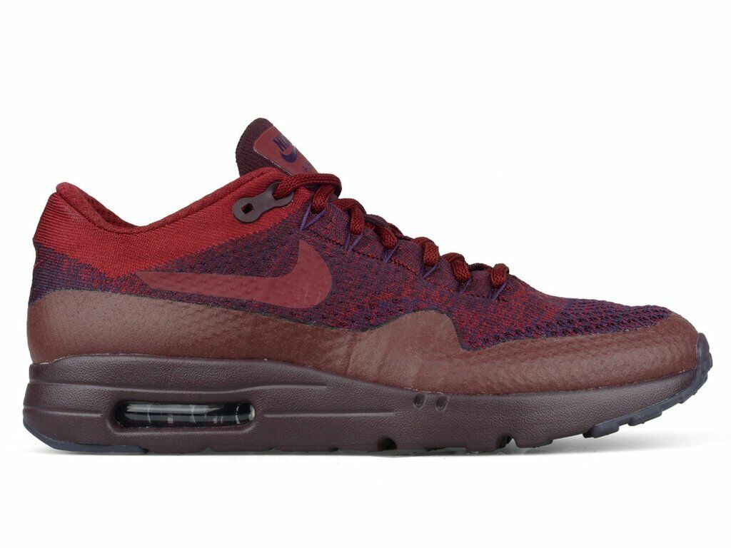 Size 15 NIKE Men Air Max 1 Ultra Flyknit shoes 856958 566 Burgundy Red