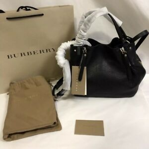 fc5edacd9 Image is loading NWT-Burberry-Maidstone-Small-Check-Detail-Leather-Tote-