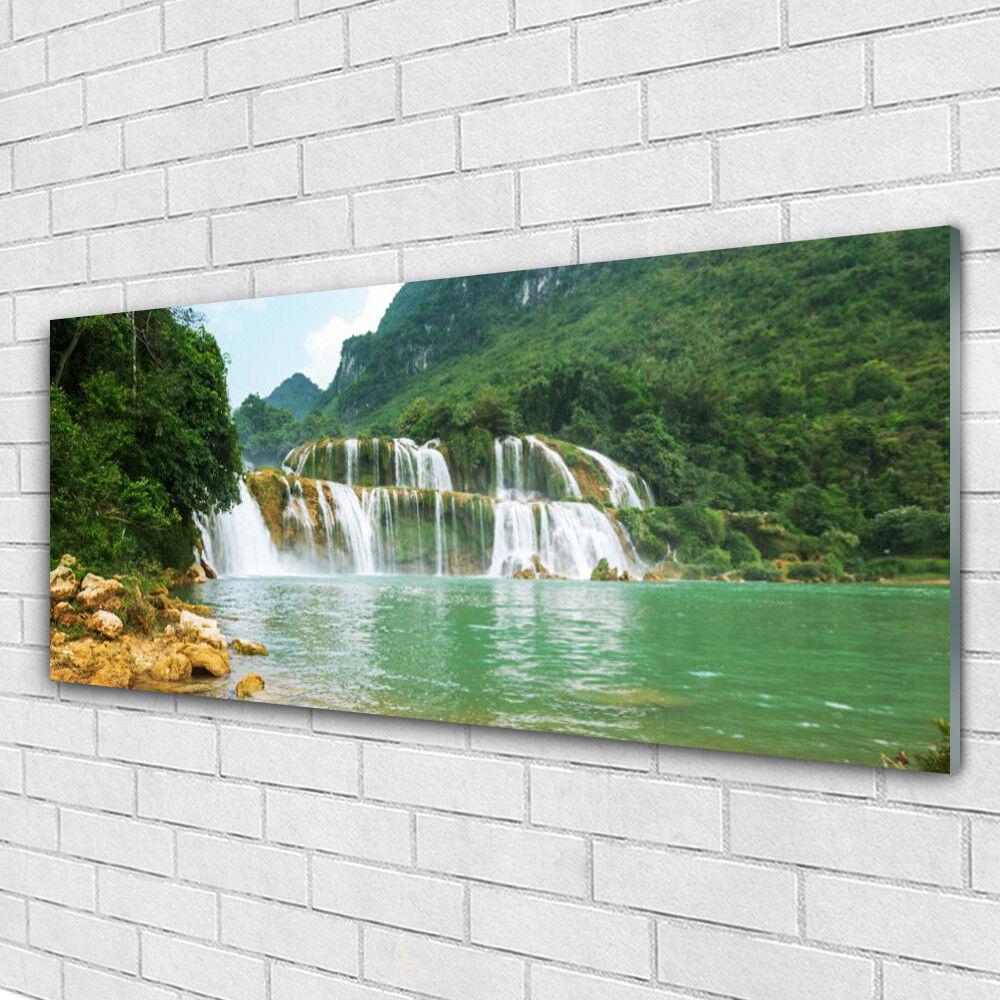 Tableau murale Impression sous verre 125x50 Paysage Forêt Chute D'eau