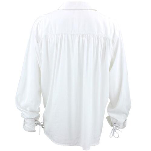 White Pirate Shirt Fancy Dress RAYON Billowy Costume Men Buccaneer Caribbean