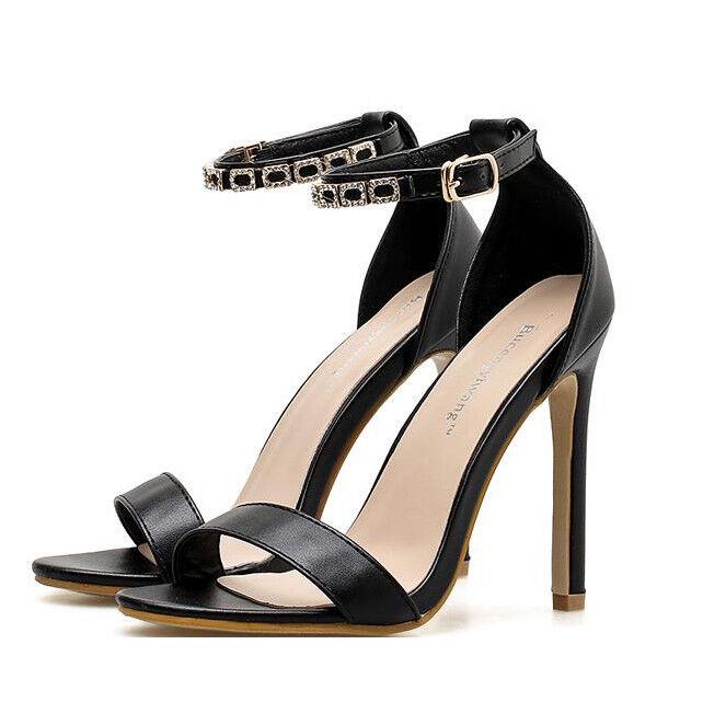 Sandale stiletto eleganti 11 cm nero  simil pelle simil pelle eleganti 9397