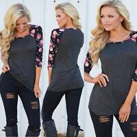 Womens Casual 3/4 Long Sleeve Shirt Top Blouse Floral Print Tee T-Shirt S/M/L/XL