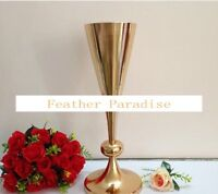 French Gold Metal Trumpet Vases Tall Centerpiece Vses 22 Inches ( Ga, Usa)