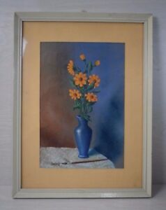Vintage-Collectible-Hand-Painted-Painting-of-Flowers-in-Vase-Signed-Framed-Retro