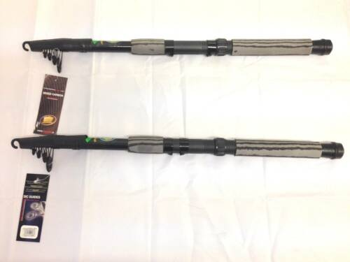 2 New Lineaeffe Oxygen Carbon Telescopic Fishing Rods 2.4m 8ft x 2
