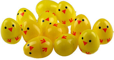 Set Of 12 Chick Plastic Surprise Eggs - Fill With Easter Hunt Gifts