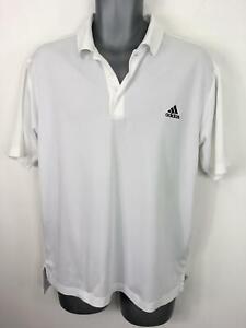 Homme Adidas blanc à manches courtes léger Polo Shirt T-shirt homme taille L