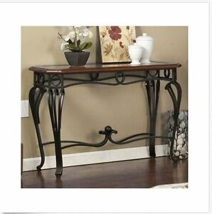 ... Metal Wood Console Table Sofa Entry Living Room