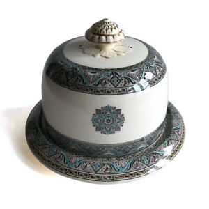 Antique-English-Victorian-Enameled-Pottery-Cheese-Dome-amp-Underplate-19th-C