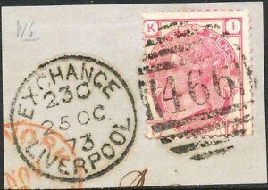 GB-1873-QV-3-D-dark-pink-Pl-11-IK-on-piece-clear-Duplex-Postmark-466-LIVERPOOL