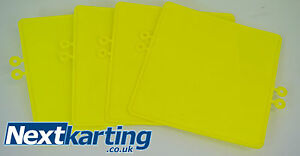 GO-KART-PACK-OF-4-YELLOW-Number-Plate-with-4-CSK-Mounting-Washers-Rotax-X30