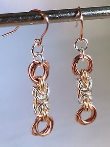Details about Tri-colored byzantine and flowers Chainmaille earrings  1 3/4  Inches