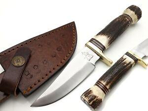 D2 TOOL STEEL BLADE HUNTING DAGGER SKINNER KNIFE WITH STAG HANDEL & BRASS POMMEL