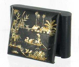 ANTIQUE-CHINESE-LACQUERWARE-ASIAN-GOLD-LEAF-WOODEN-TRINKET-DRESSER-BOX-LOCK