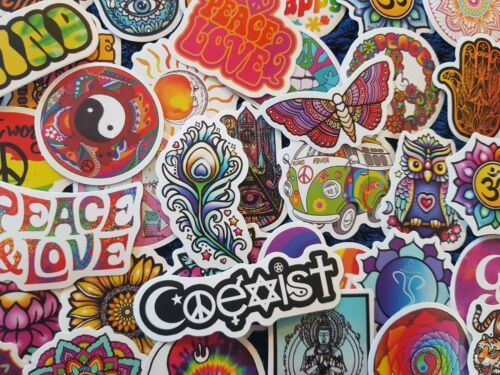 Hippie Peace Love Spiritual Trip Stickers 20//50 Scrapbooking Drugs Cardmaking