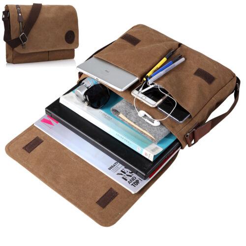 """Military Canvas Satchel School 14/"""" Laptop Shoulder Messenger Bag Multi-Pocket"""