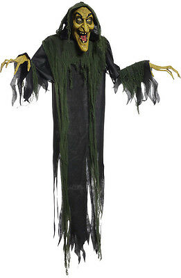 Hanging Witch 72 Inches Animated Halloween Prop Haunted House Yard Scary Decor