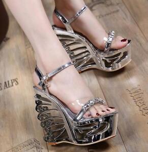 Details about Womens Platform Wedge High Heels Sandals Open Toe Rhinestone Clear Clubwear Shoe