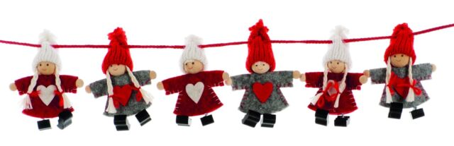 4ft 1 2m 120cm Nordic Boy And Girl Felt Christmas Garland Festive Xmas