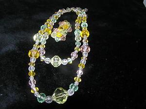 Vintage-DEMI-Pastel-Orange-Pink-Green-Faceted-Plastic-Multistrand-Necklace