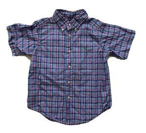 Ralph-Lauren-Toddler-Boys-Button-Down-Shirt-4T-Plaid-Short-Sleeve-Blue-Pink