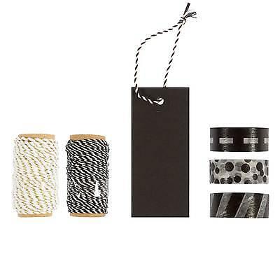 Verpackungsset 15 tlg. Schwarz / Etiketten, Band, Dekoration, Tape, Geschenk