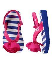 Gymboree Blue Striped Flip Flops Sandals w/ Pink Rosette Baby Girl Size 3-4 NEW