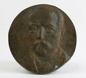 Schule Französisch Porträt Mann Monogramm Platte aus Bronze Jugendstil