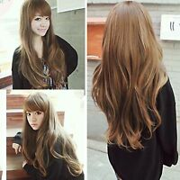 new fashion womens lady wavy curly brown long hair full wigs cosplay costume wig
