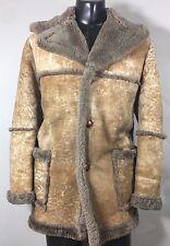 Bespoke Shearling Sheepskin Leather Marlboro Overcoat Top Coat Men's L