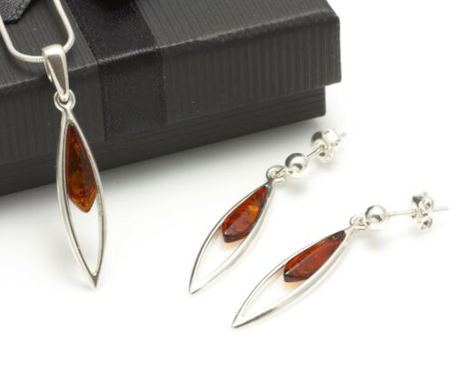 BALTIC AMBER SILVER 925 Jewellery SET EARRINGS /& NECKLACE CHAIN Certified