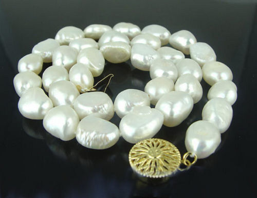 Genuine Real White Freshwater Pearl Yellow Gold Plated Sun Flower Clasp Necklace