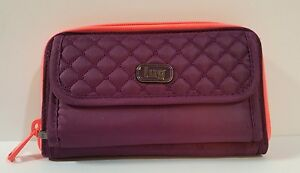 LUG-Kickflip-Convertible-Wallet-Wristlet-Cross-Body-Purple-Coral-RFID-Protection