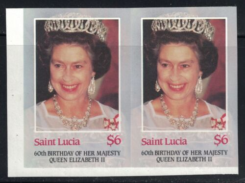 St. Lucia -QueenElizabethII-60thAnniversaryOfCoronation Imperf Pairs MNH 1986