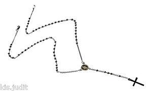 Bellissima collana rosario in puro acciaio colore argento