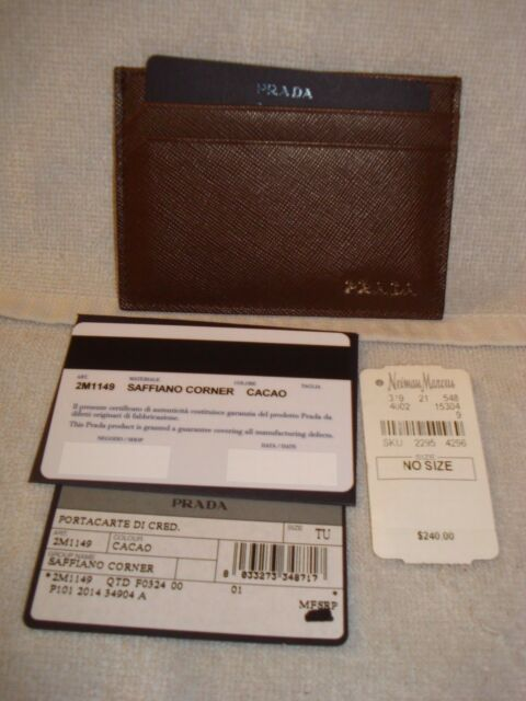 130151b3388202 Buy 100 Authentic PRADA Brown Textured Leather Card Case Wallet ...
