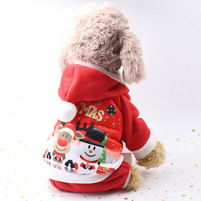 Jumpsuit Pet Warm Coat Dog Hoodie Sweatshirts Puppy Jacket Christmas Costume US