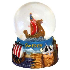 Schneekugel-Schweden-Wikinger-Schiff-Ship-Sweden-Snowglobe-Souvenir