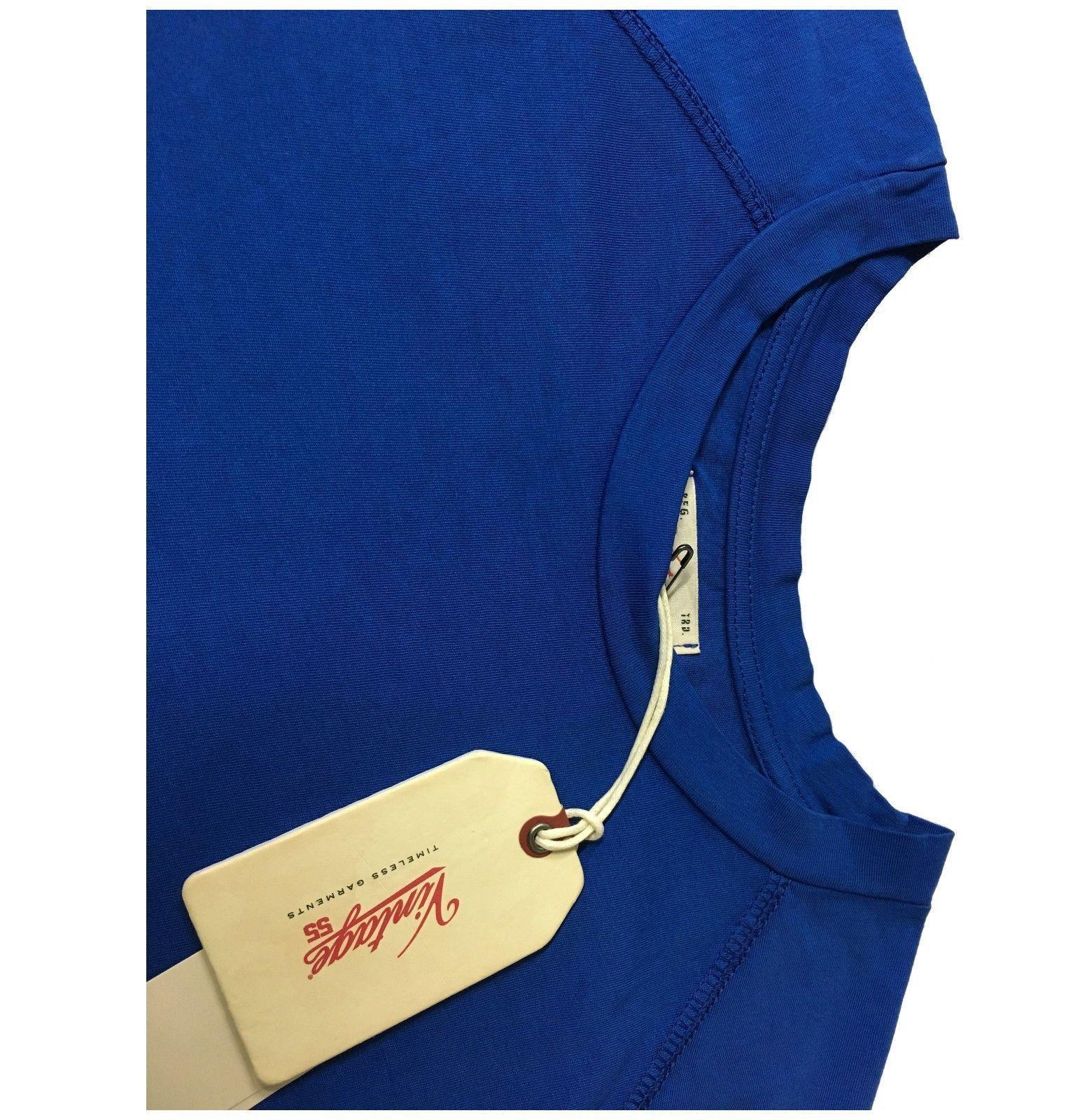 VINTAGE VINTAGE VINTAGE 55 T-Shirt mit kurzen Ärmeln Tasche Stickerei KornBlaumenblau in Ita 15f95e