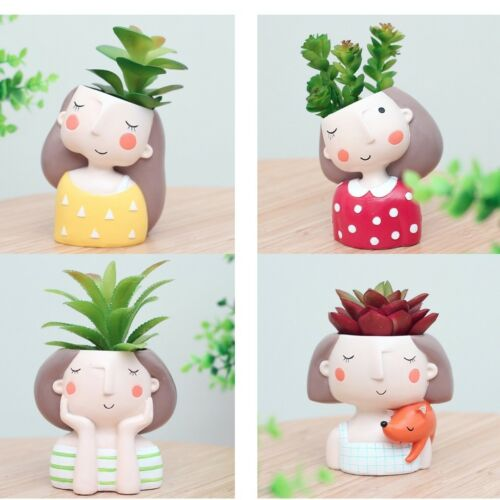 4pcs Resin Girls Mini Succulent Plant Pot Small Flower Pot for Garden Decor