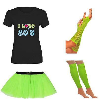 Ausdauernd Womens I Love 80s T Shirt Tutu Skirt Gloves Neon Legwarmer Set Ladies 6220 Mit Den Modernsten GeräTen Und Techniken