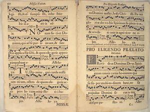 MUSIK-Noten-NEUMEN-RIESEN-Notenblatt-um-1690-Doppelblatt-Lieder-singen-CHORAL