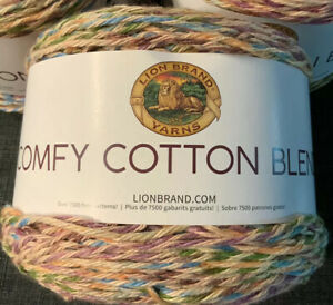 NEW-Lion-Brand-Yarn-Comfy-Cotton-Blend-Yarn-Stained-Glass-756-704
