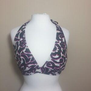 Catalina-black-pink-cream-floral-triangle-bikini-top-large-12-14-swimsuit-halter