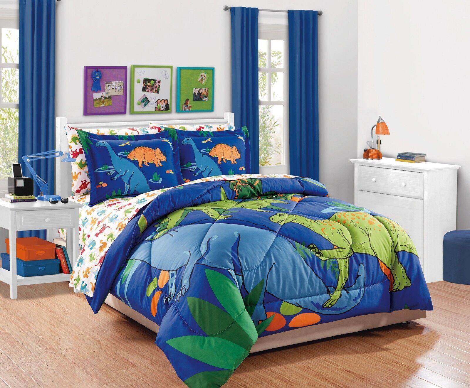 Fancy Linen 5pc Boys Twin Comforter Set Dinosaurs bluee Green orange New