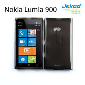 Jekod-black-TPU-gel-silicon-case-cover-screen-protector-for-Nokia-Lumia-900