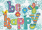 Dimensions Be Happy Mini Stamped Cross Stitch Kit 18cm X 13cm